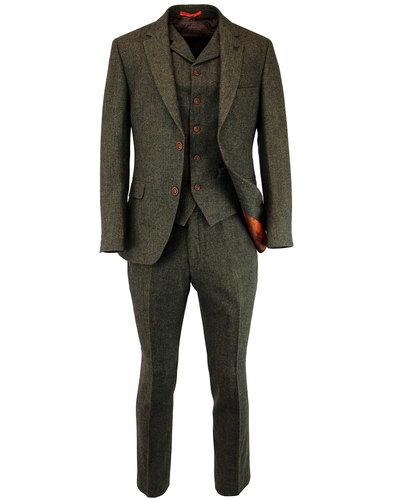 GIBSON LONDON Retro 60s Mod Green Herringbone Suit
