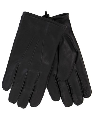 GIBSON LONDON Men's Retro Black Leather Gloves
