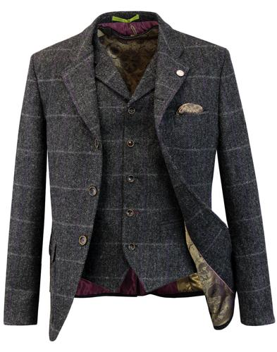 gibson london grouse herringbone blazer charcoal