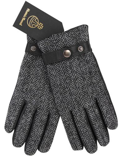GIBSON LONDON Harris Tweed Herringbone Gloves GREY