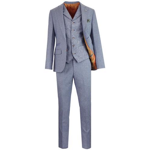 605fa991ad91 Gibson London Towergate Retro Mod Micro Check Tailored Three Piece Suit in  Blue