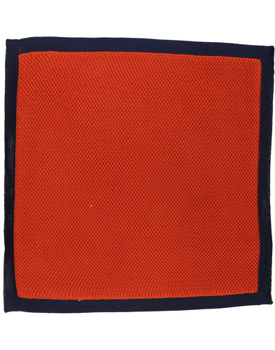 GIBSON LONDON 60s Mod Knitted Pocket Square ORANGE