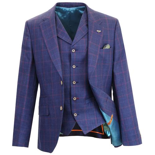 8ab0f520ee99 Gibson London Men's Mod Windowpane Check 2 Button Linen Tailored Blazer  Jacket in Blue