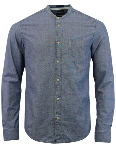 WRANGLER Grandad Collar Retro Mod Oxford Shirt