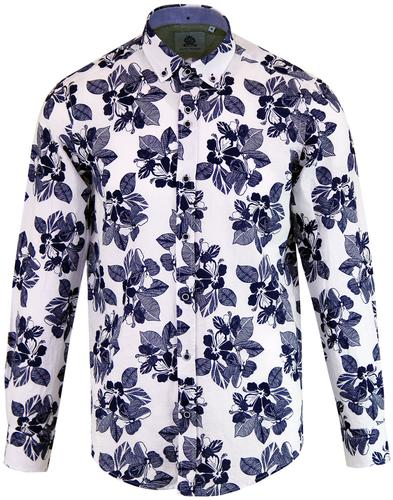 GUIDE LONDON Retro Sixties Mod Floral Linen Shirt