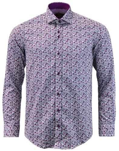 GUIDE LONDON 1960s Mod Floral Paisley Shirt PLUM