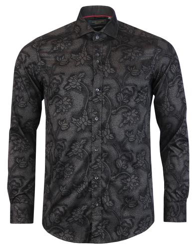 GUIDE LONDON 1960s Mod Baroque Floral Flock Shirt