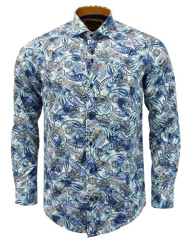 GUIDE LONDON 60s Mod Smudgy Paisley Floral Shirt