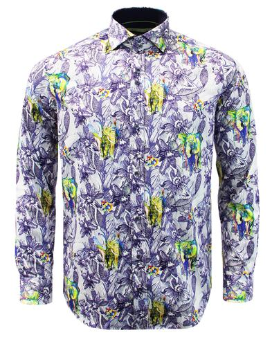 GUIDE LONDON Men's Retro Mod Elephant Floral Shirt