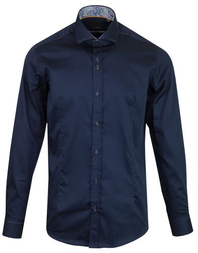 GUIDE LONDON Rainbow Stitch Smart Mod Shirt NAVY