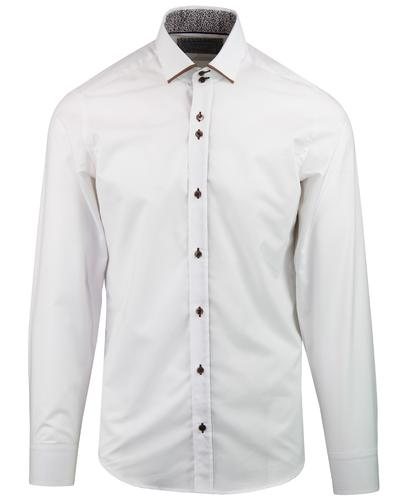 GUIDE LONDON 60s Mod Tipped Collar Smart Shirt (W)