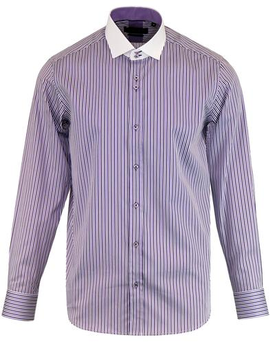 GUIDE LONDON Retro Contrast Collar Stripe Shirt L