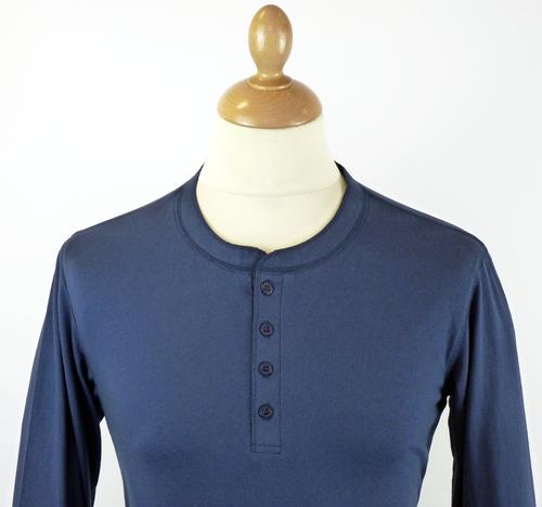 Mens Retro 70s Indie L/S Henley Neck Navy T-Shirt