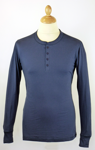 Mens Retro 70s Indie L/S Henley Neck Navy T-Shirt