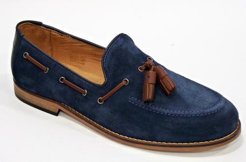 10894ae77d0b2 H by HUDSON Tyskatu Retro 60s Suede Mod Tassel Loafers Blue