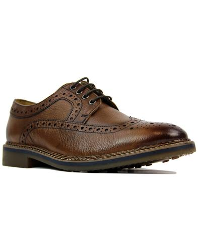 Barley IKON Retro Mod Tumbled Leather Brogues TAN