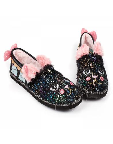 Irregular Choice Cat Nap Fluffy Kitty Slippers
