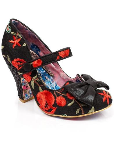 Fancy This IRREGULAR CHOICE Retro 50s Heels Blk