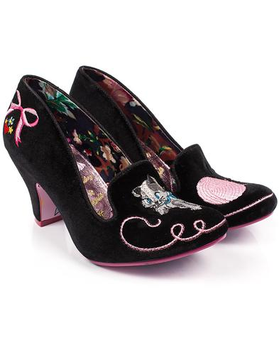 Fuzzy Peg IRREGULAR CHOICE Kitty Shoes in Black