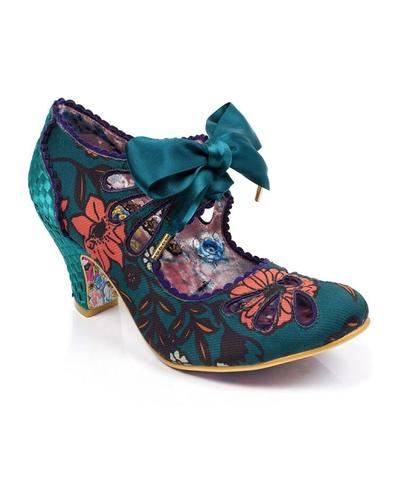 Sugar Plum IRREGULAR CHOICE 70s Floral Heels Teal