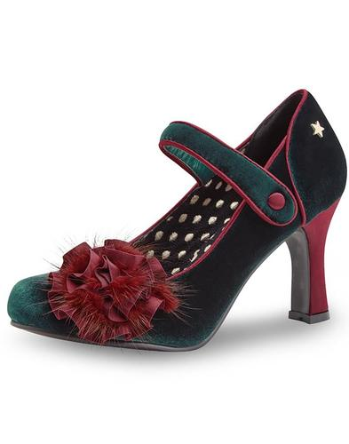 Joe Browns Couture Shoes Parade Green Velvet