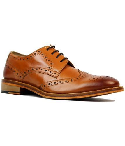 KENSINGTON 60S Mod Wing Cap Leather Gibson Brogues