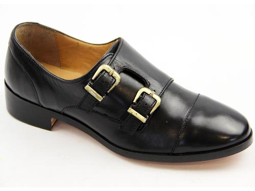 Calypso LACEYS Retro Monk Strap Toe Cap Shoes (B)