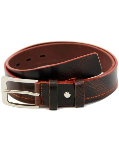 LACUZZO Retro Mod Orange Stitch Leather Belt BROWN