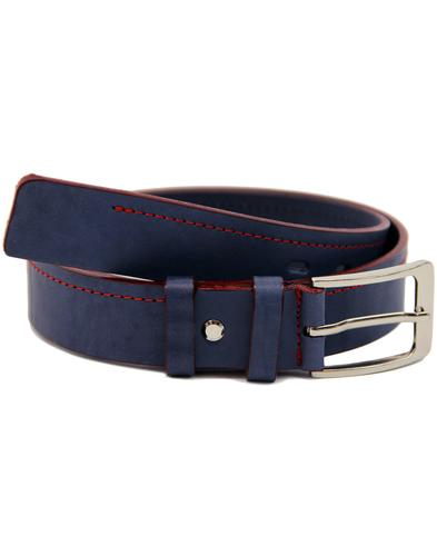 LACUZZO Retro Mod Red Stitch Leather Belt (NAVY)