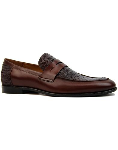 Gator LACUZZO Retro Mod Croc Stamp Loafers BROWN