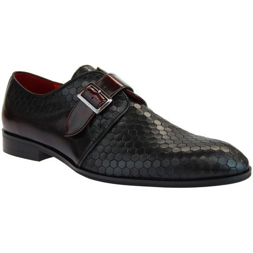 b6ace6247f51 Lacuzzo Men's Retro Mod Honeycomb Stamp Monk Strap Shoes in Black