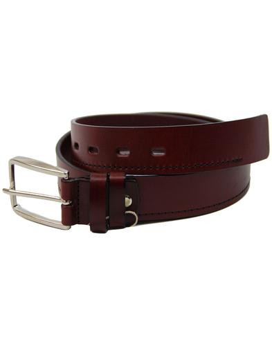 LACUZZO 60s Mod Black Stitch Leather Belt BURGUNDY