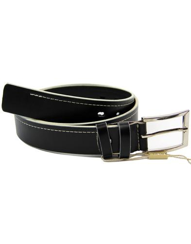 LACUZZO Retro Indie Mod White Stitch Leather Belt