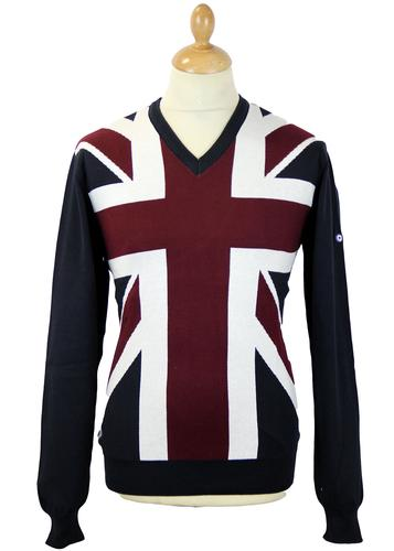 LAMBRETTA Retro Mod Union Jack Knitted Jumper 5005