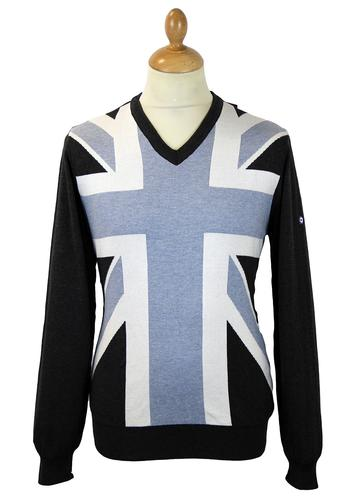 LAMBRETTA Retro Mod Blue Union Jack Jumper DB 5005