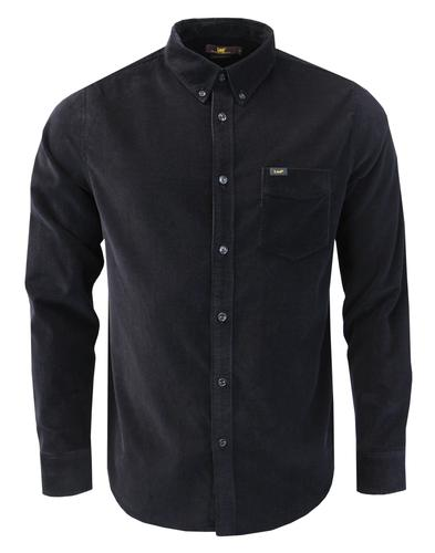 LEE Retro Mod Fine Cord Button Down Shirt (Black)