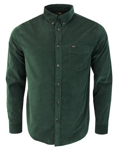 LEE Retro Mod Fine Cord Button Down Shirt (Forest)