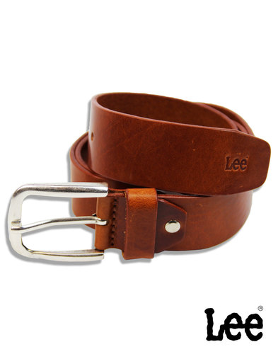 LEE Men's Cognac Leather Belt with Silver Buckle