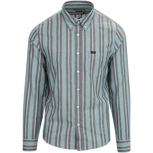 217936786589 lee mens nelf button down stripe regular fit long sleeve shirt faded green  grey