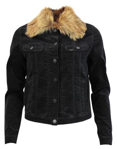 LEE Women's Faux Fur Collar Velvet Rider Jacket