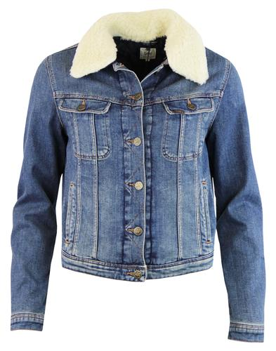 LEE Womens Retro 1970s Italian Denim Sherpa Jacket