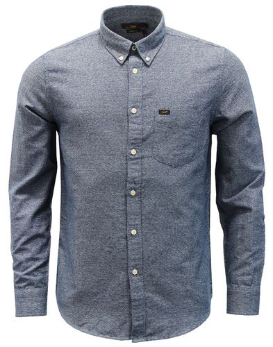 LEE Retro Mod Herringbone Marl Button Down Shirt