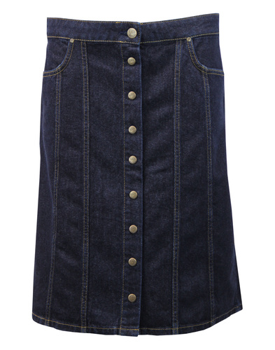 LEE Retro 70s Button Through Denim Midi Skirt (IR)