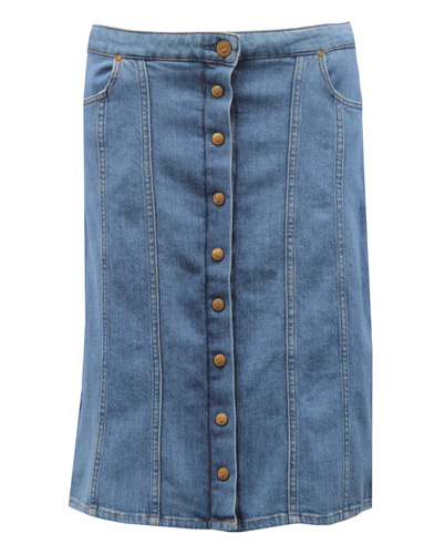 LEE Retro 70s Button Through Denim Midi Skirt (W)