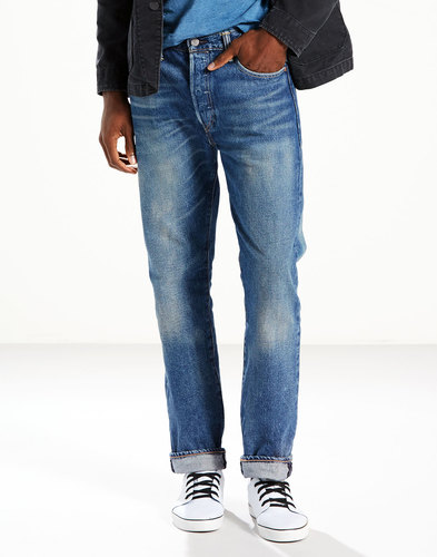 levis 501 mens retro original fit jeans tedesco