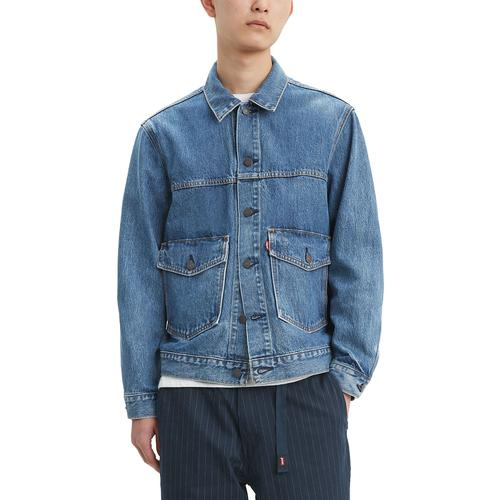 18b85f2df25dd Levi s Men s Retro Mod Patch Pocket Denim Trucker Jacket in Gear Box Medium  Indigo