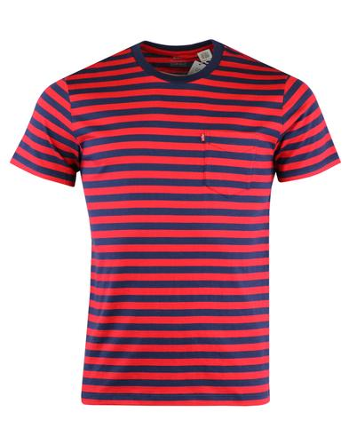 LEVI'S Retro Mod Stripe Sunset Pocket T-shirt RED