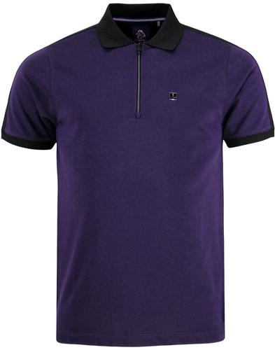 Rons Son LUKE 1977 Retro Mod Zip Neck Polo Top (P)