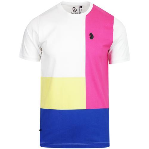 1543e0b6 luke 1977 mens wind close retro bright colour blocks crew neck tshirt white