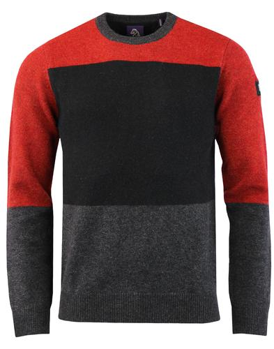 STFU LUKE 1977 Retro Mod Colour Block Wool Jumper
